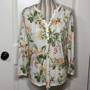 H&M Split V-Neck Floral Blouse, Large - NWT!!